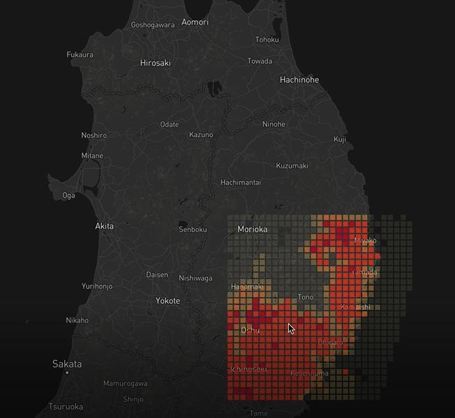 <サンプル画像:「Starflake forest」で抽出したデータを地図システムにプロットしたもの>